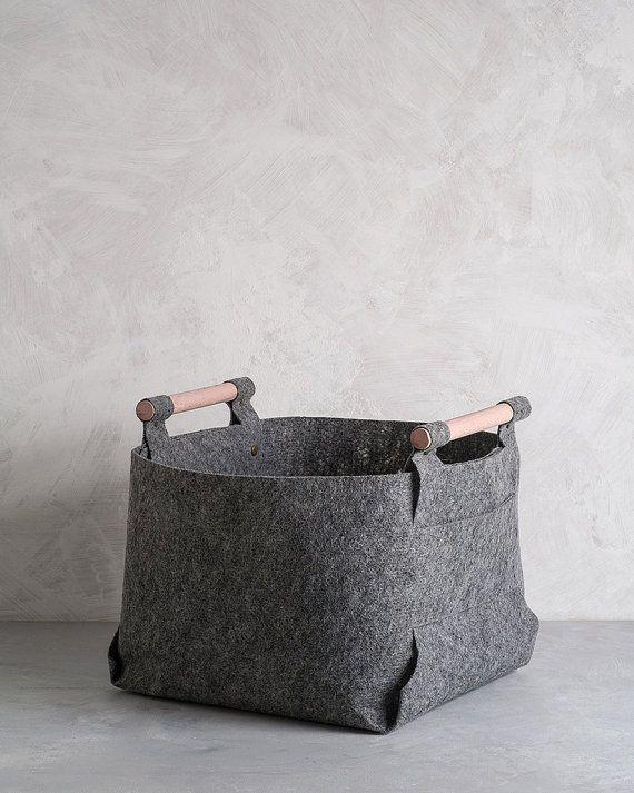 Large Felt Storage Bin with Peach Wood Handles by loopdesignstudio