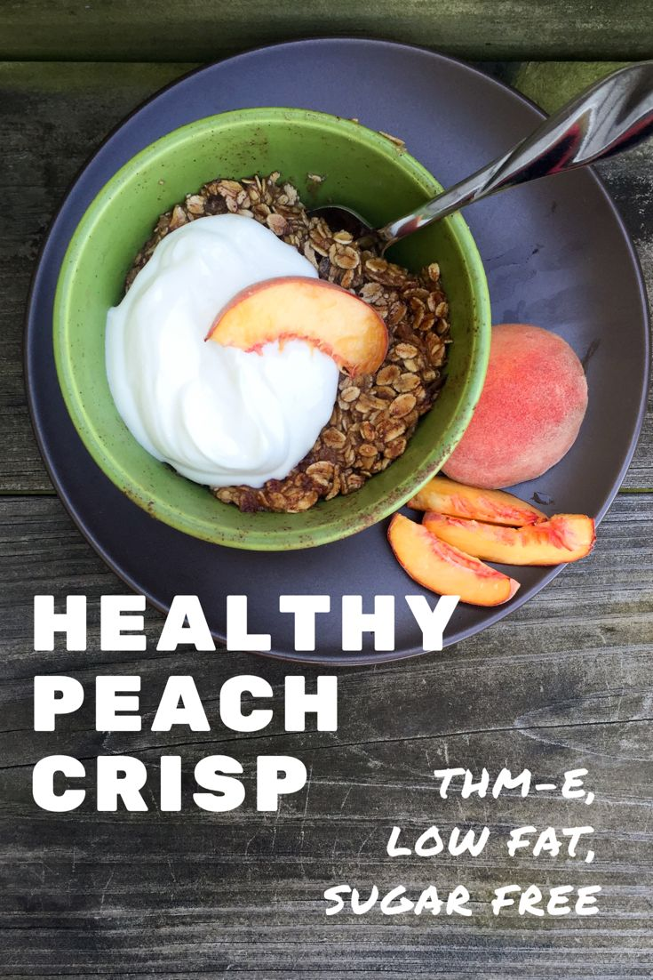 Sweet and tender peaches in syrupy sauce, topped with a chewy oatmeal crust – oh this is sweet perfection! I was recently staying at my Mom's house on vacation. Someone had given her a bunch of fresh peaches – they were very small, but delicious! I knew I wanted to create something with them, and… Continue reading Healthy Peach Crisp {THM-E, Low Fat, Sugar Free}