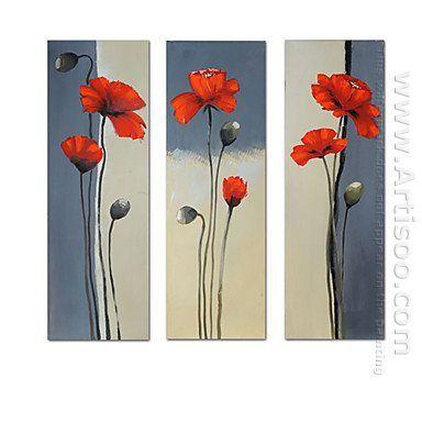 Handgeschilderde Bloemen olieverfschilderij - Set van 3 - Canvas Sets
