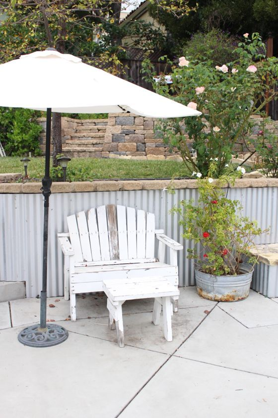 Corrugated Metal Covered Retaining Wall Outdoor Rooms