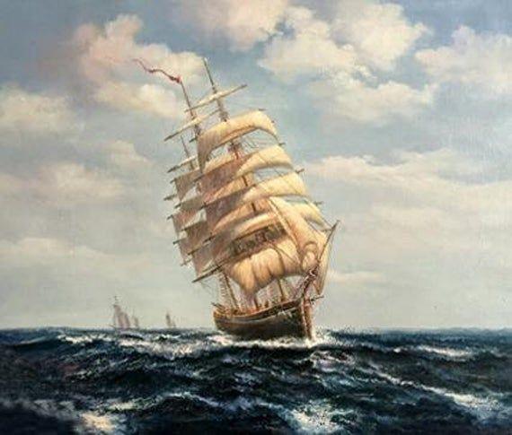 Sailing Boat Wall Art On Canvas Seascape Battleship Artwork Sea Oil Painting In 2020 Ship Art Boat Wall Art Ship Paintings