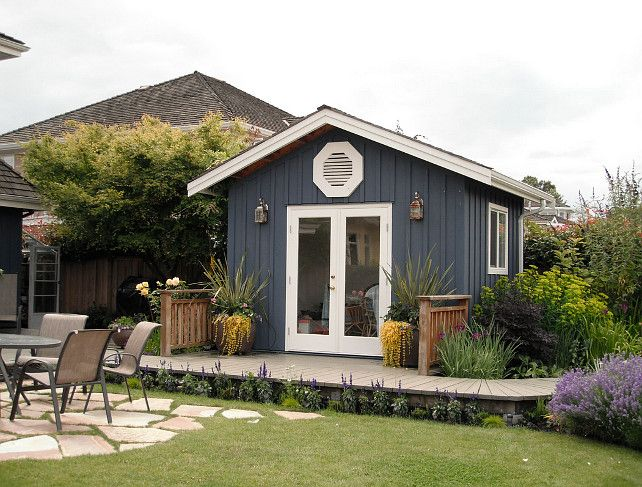 Garden Shed. The garden shed size is approximately 10 x 10. Shed paint color is Benjamin Moore HC-155 Newbury Port Blue in Flat finish. #Shed #Garden