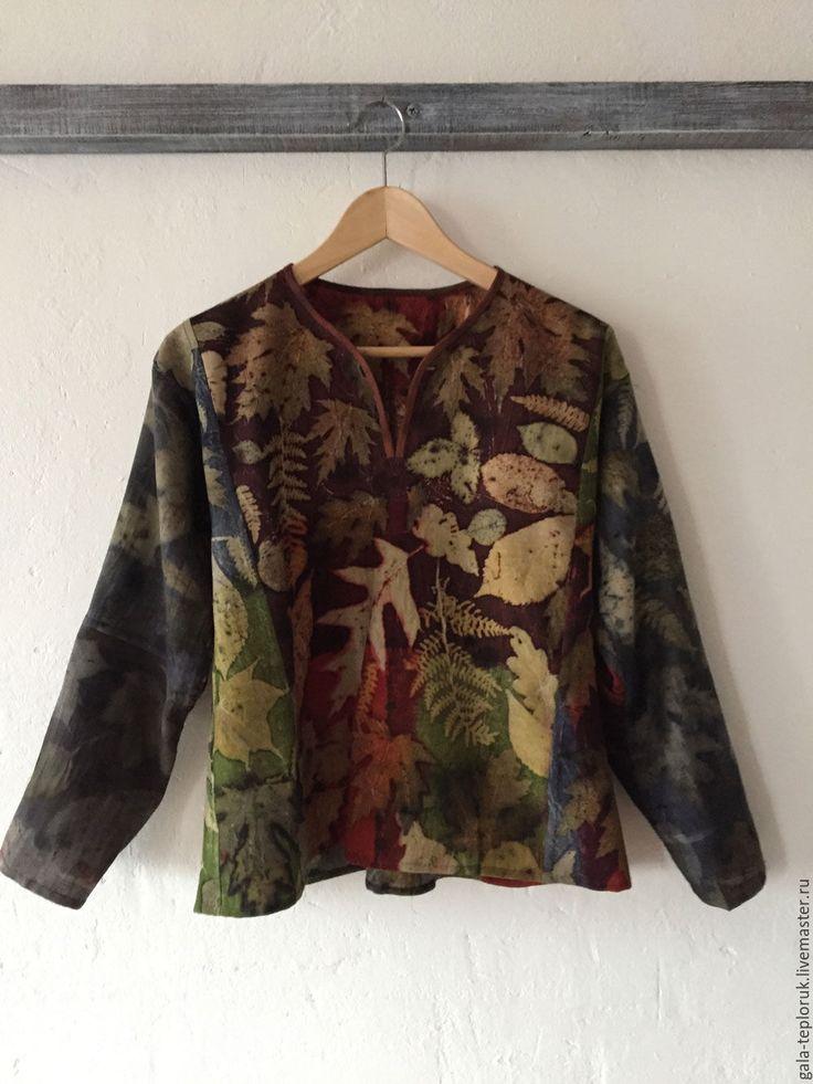 """Купить Экопринт """"листья"""" - экопринт, контактное крашение, блуза из шерсти, рубашка женская, Яркая одежда"""
