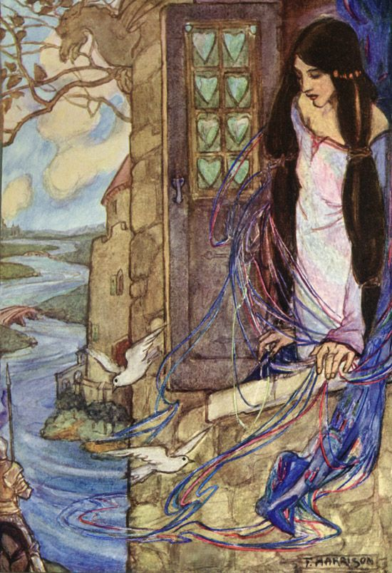 The Lady of Shalott by Emma Florence Harrison, illustration to Tennyson's poem of the same name in Guinevere and Other Poems