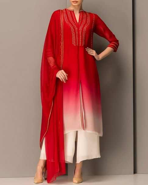 Ombre red kurta with red thread embroidered detailing and sequins. Split neckline with central slit. Three quarter sleeves. Matching palazzo pants and dupatta