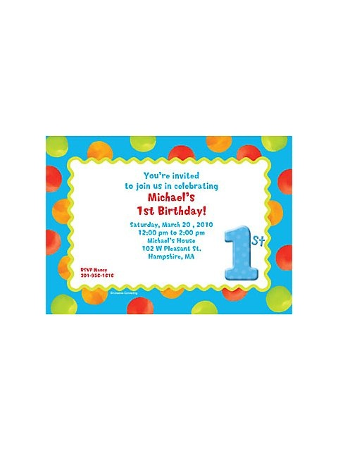 Big 1 Dots - Boy Personalized Invitation