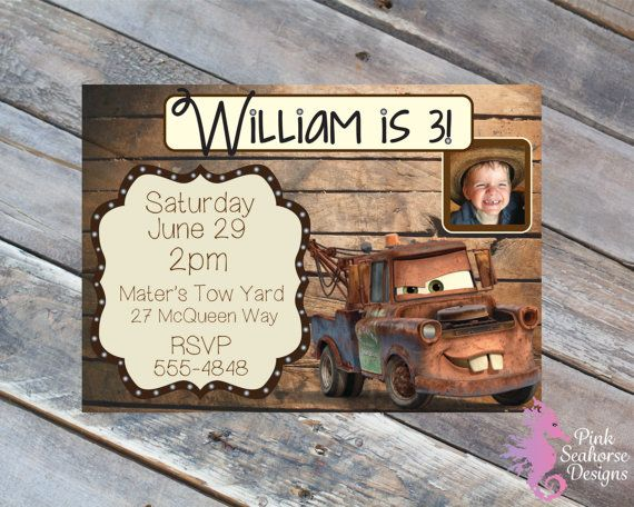 Its Tow Mater! Perfect for your next Cars themed birthday party!!! With a custom photo option! All your guests will love this one! This