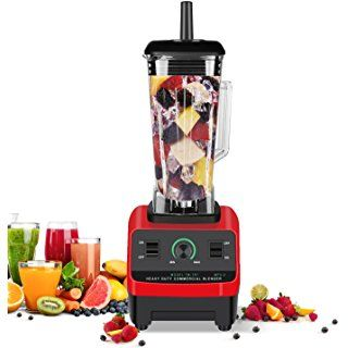 Blender Funkoo Commercial Food Blender for Smoothies and Shakes Professional High Speed Electric Blender Vegetable Fruit Mixer Processor, Red