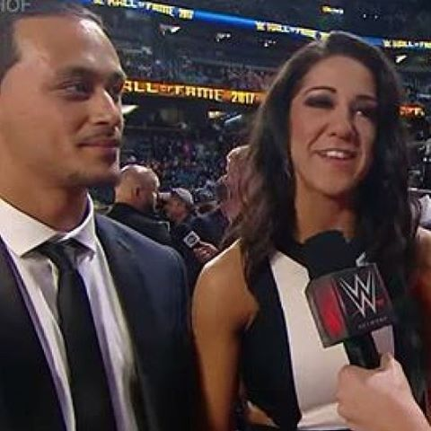 WWE Superstar Bayley (Pamela Martinez) and her fiancé Aaron Solow, who's an indy wrestler, at the 2017 WWE Hall of Fame ceremony in Orlando #WWE #WWEHOF #WrestleMania #wwecouples