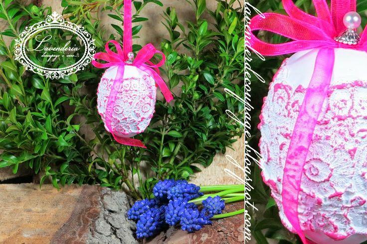 Lavenderia - decoupage i inne: Jajka wielkanocne niebieskie i różowe