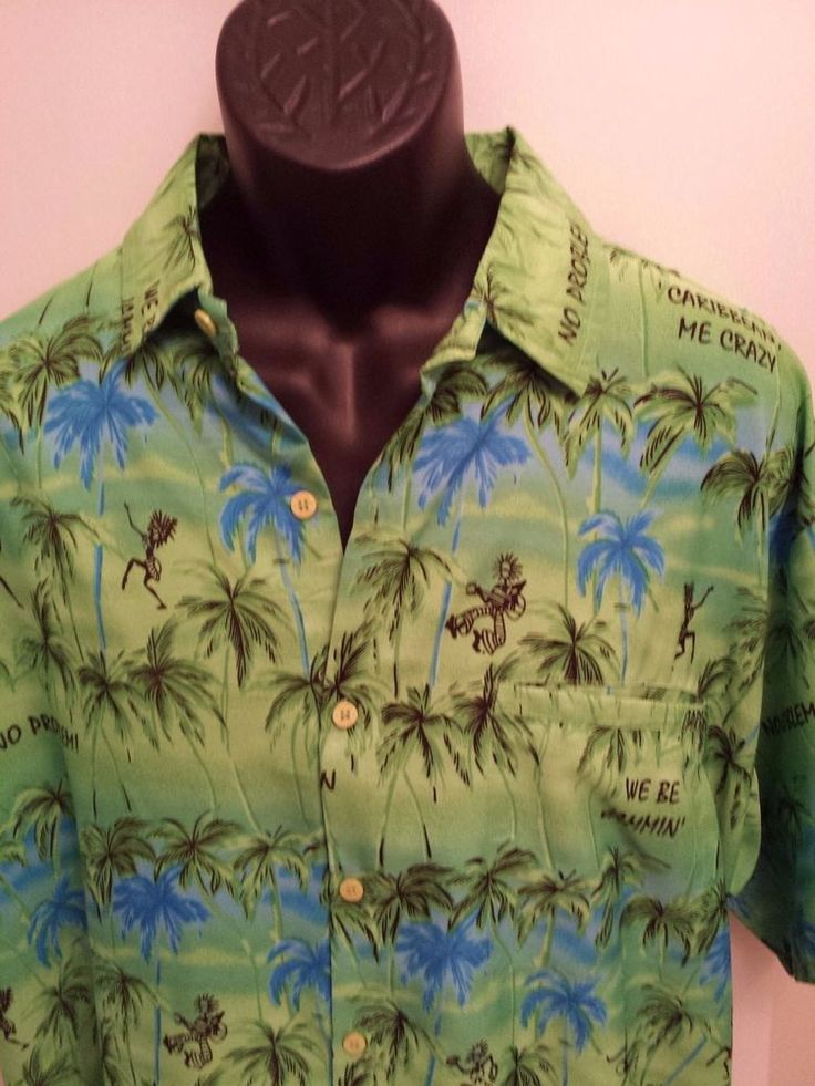 Green  Hawaiian Button Shirt XL Beach Wear  Palm Hawaii Rima caribbean Shirt #Rima #Hawaiian