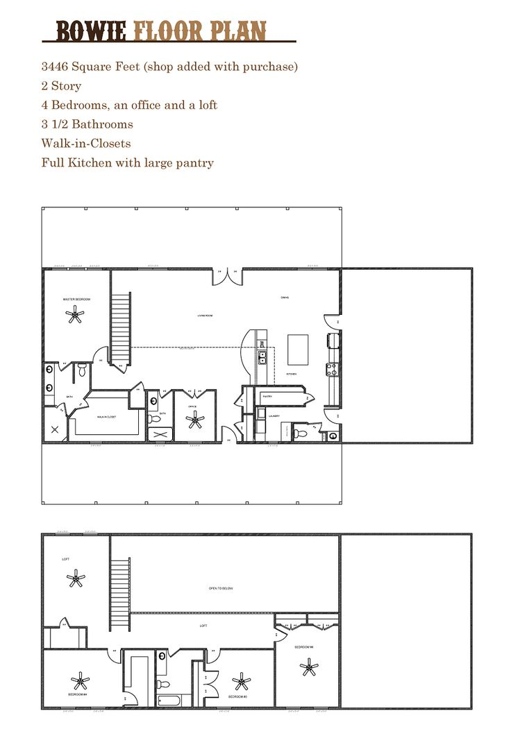 Barndominium Floor Plans 2 Story 4 Bedroom With Shop