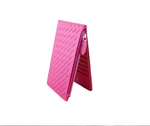 Pink Colour Quilted PU Women Cardholder
