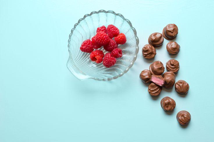 Raspberry Cream chocolate candies. DIY with Grandma Mabels