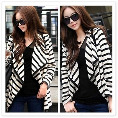 Hot Casual Fashion Women Long Sleeve Striped Peplum Tops Cardigan Blouse Jacket $8.30