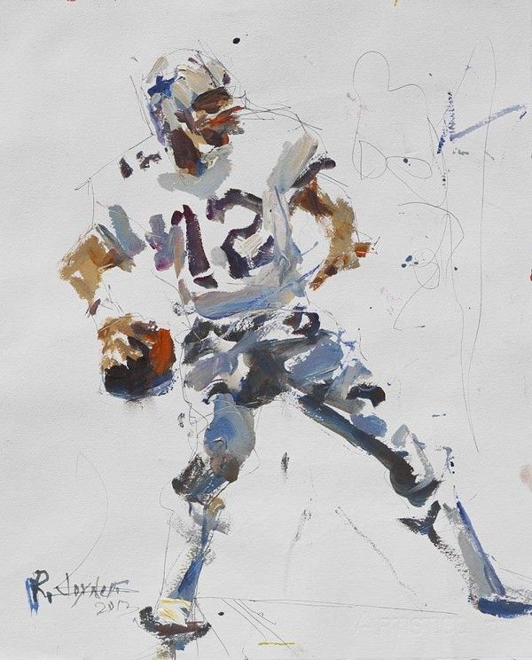 This mixed media Dallas Cowboys artwork depicts NFL football legend Roger Staubach in full windup mode as ...