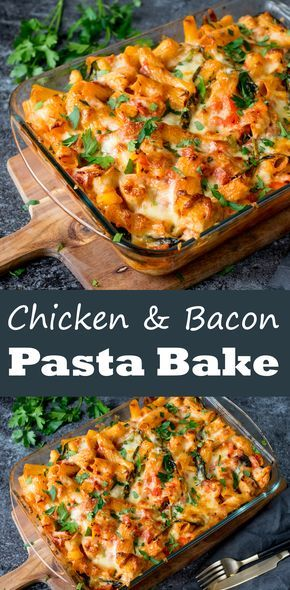 Chicken, bacon and spinach cheesy pasta bake – one for the regular recipe rotation!