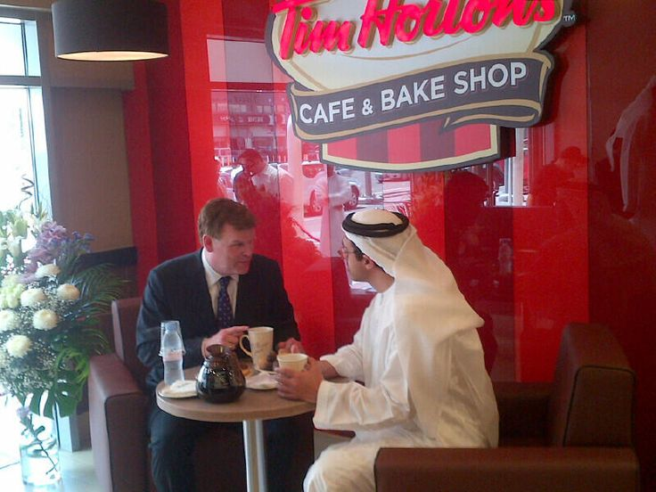 Canadian Foreign Minister John Baird gets his Tim Hortons fix with his Emirati counterpart, Sheikh Abdullah bin Zayed Al Nahyan. A diplomatic double double! | #Cdnpoli