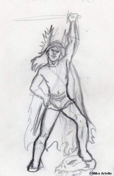 Psycho Warrior rough sketch, late 1990's. By Mikey Artelle