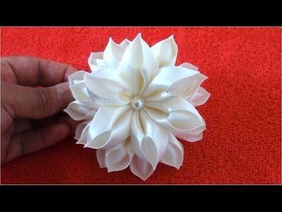 Flores Kanzashi hermosas en cintas de raso paso a paso