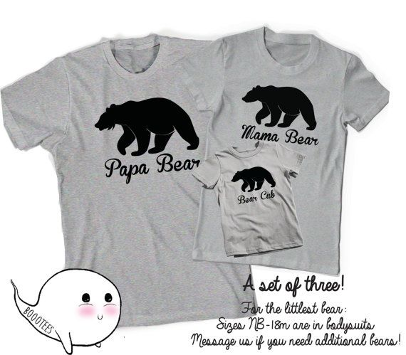 Papa Bear Mama Bear T-Shirts T Shirt Tee Matching Shirts Daddy Mommy Mom Dad Baby Toddler Mother Father Gifts Present Baby Shower New Reveal