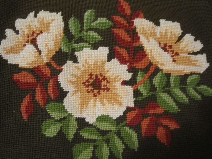 Vtg  Seat Cushion Pillow Finished Needlepoint Floral Brown