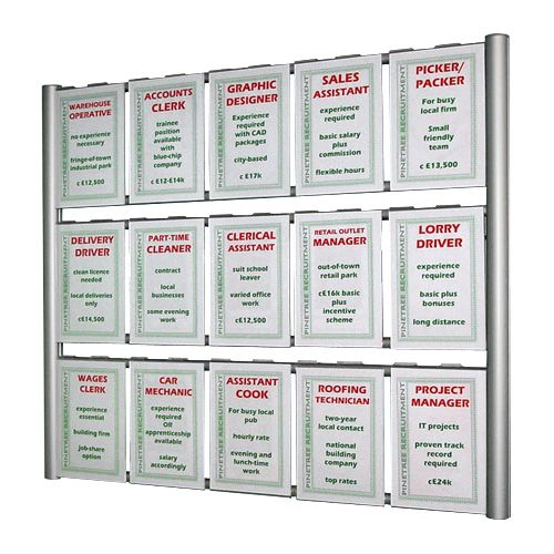 A4 portrait holders easily interchangeable with A3 landscape and A2 portrait, especially popular with estate agents for displaying property details and for displaying certificates!