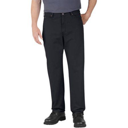 Genuine Dickies Men's Relaxed Fit Straight Leg Dungaree Jeans, Size: 40 x 30, Black