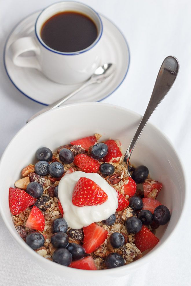 Say NO to shop bought, refined, sugar laden cereals and make your own, with my simple home- made granola. It's only 222 calories per 50g portion and it's delicious with skimmed milk or no fat Greek yogurt then topped with strawberries and blueberries!