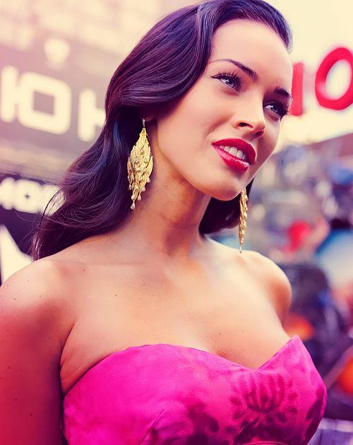 Megan Fox in a pink dress.