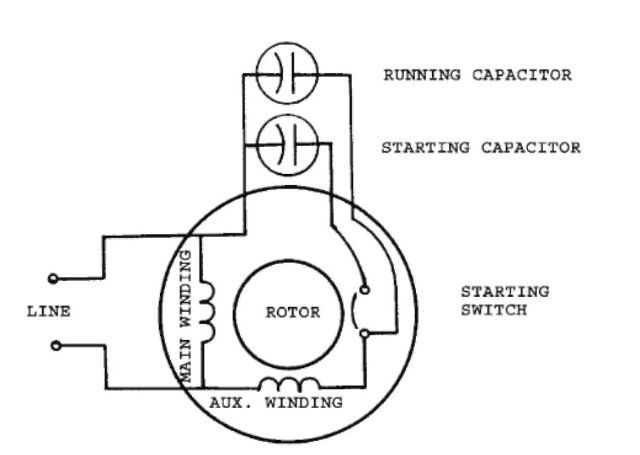 Twovalue capacitor, singlephase motor   Motors   Electric motor, Electrical diagram