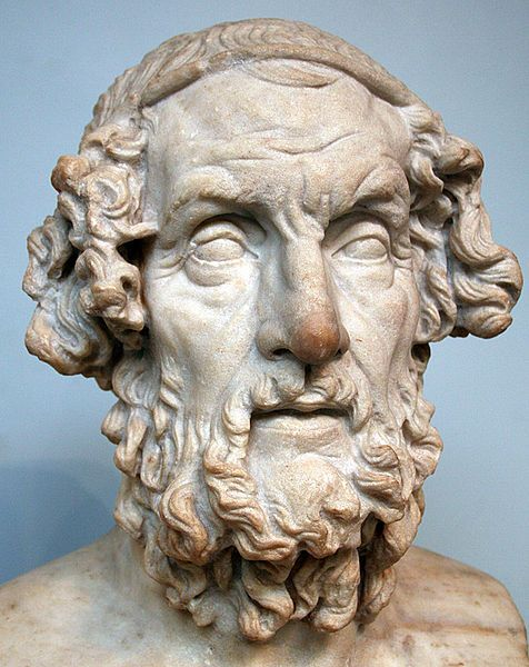Homer, Hellenistic bust (marble), 2nd century BC, (British Museum, London).
