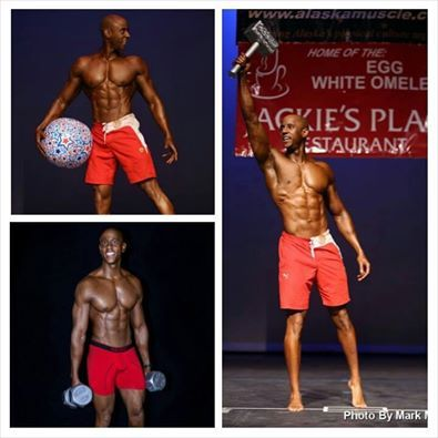 """Military Fitness & Muscle shared........  Flex Friday, TSgt Chris Monroe, 1st picture is me showing my trophy that I won the 2014 NPC Alaska State Men's physique overall champ, beating 19 other tough competitors. 2nd picture is """"on stage"""" performance, 3rd pic is """"back stage"""" photo shoot."""