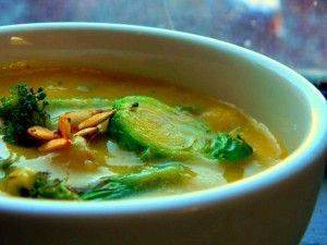 Acorn Squash and Brussel Sprout soup with soy milk - dairy and gluten free deliciousness