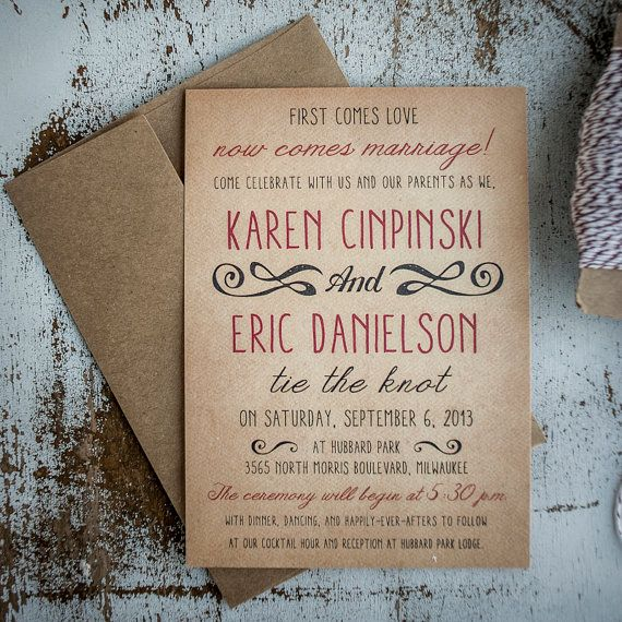Rustic Wedding Invitation Suite - Vintage, Antique, casual wedding, Invitation, RSVP cards, insert, program, thank you cards