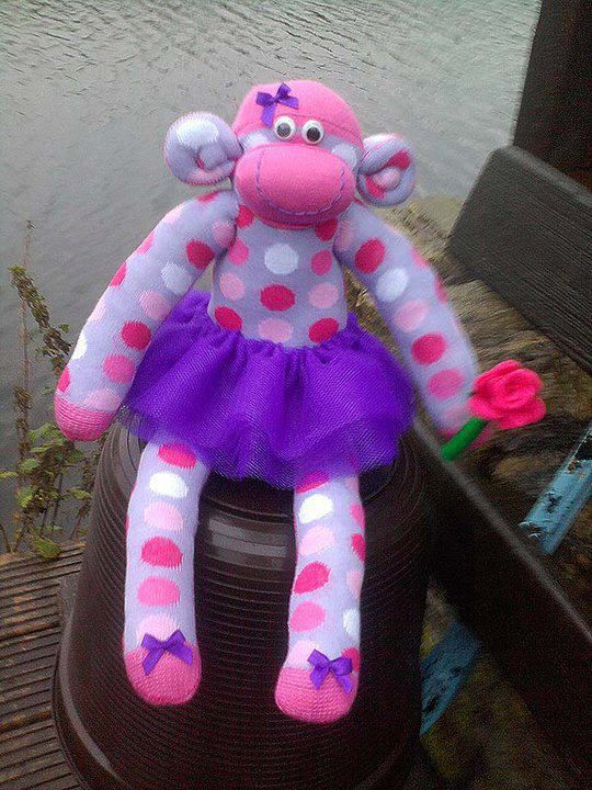 sock monkey with a rose