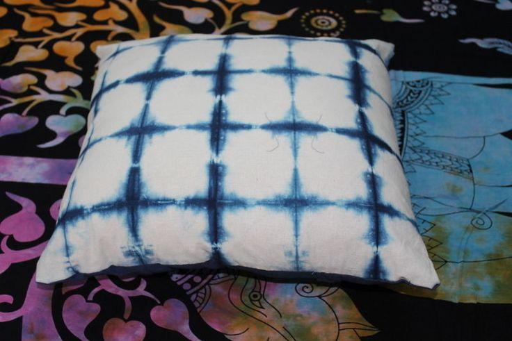 "Indigo Blue color cotton tie dye print cushion cover hand printed design 16x16""  #KhushiHandicraft #ArtsCrafts"