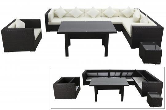 OUTFLEXX Loungemöbel-Set, braun, Polyrattan, für 8 Personen, inkl. Esstisch, mit Kissenboxfunktion