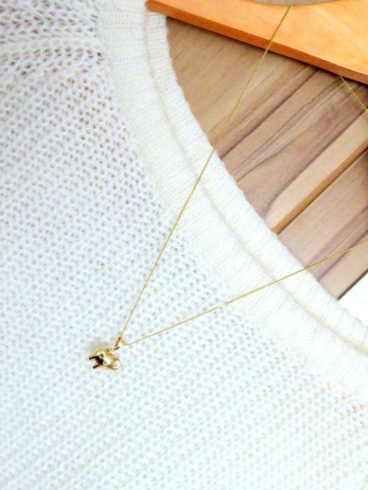 Złoty łańcuszek Gold necklace chain with pendant elephant #gold #necklace #elephant