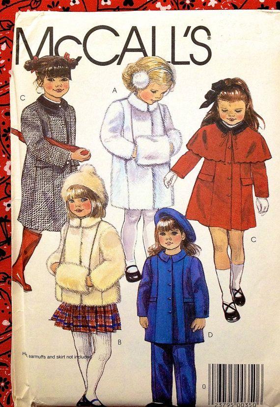 Vintage CAPE COAT MUFF Sewing Pattern ~ Girls Coats Jackets Pants Muffs #patterns4you