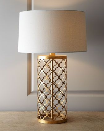 Quatrefoil Drum Lamp by Regina-Andrew Design...I love this design...the open scroll work is lovely. The light bounces off it.