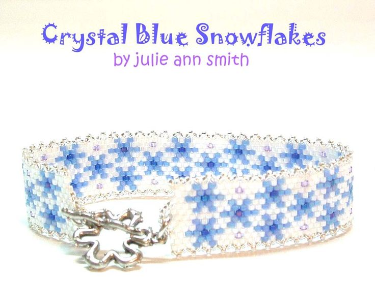 CRYSTAL BLUE SNOWFLAKES Beaded Bracelet Pattern by Julie Ann Smith at Bead-Patterns.com