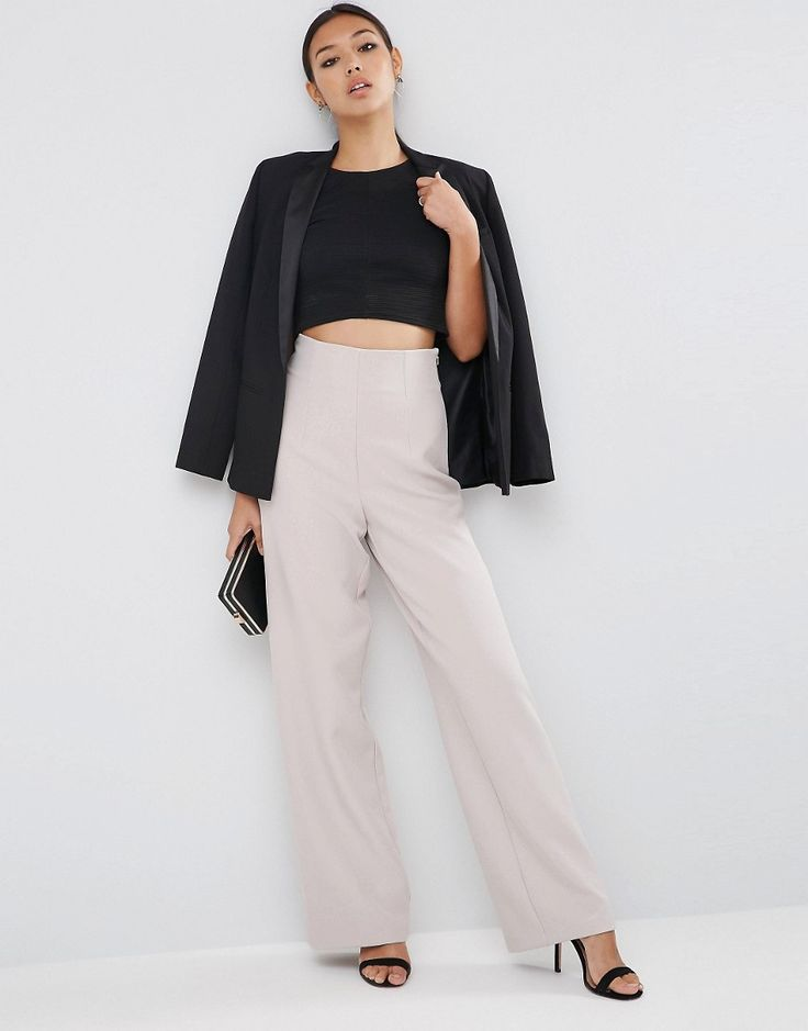 Image 1 of ASOS Super High Waist Trouser with Wide Leg