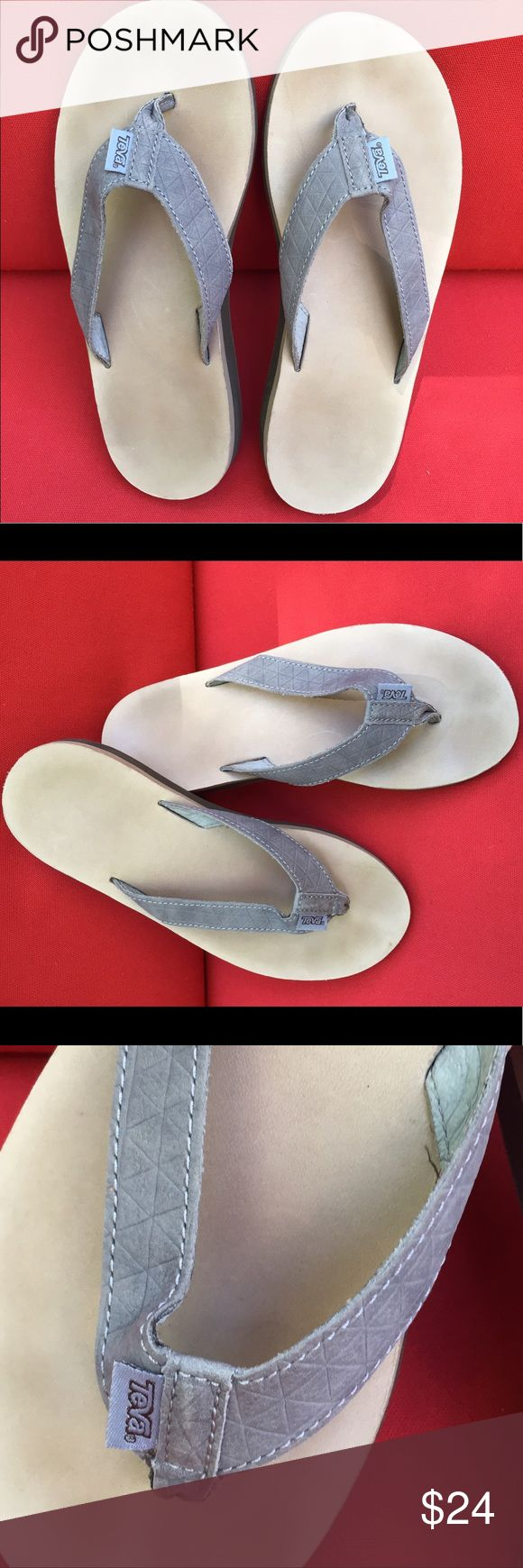 Leather Teva Flip Flop Sandals VGUC Teva flip flops. Gray straps with diamond embossing, tan leather sole in size 8. Too loose on my narrow feet so only worn twice. Despite minimal wear the tan bottoms do have toe markings. Great condition otherwise! Teva Shoes Sandals