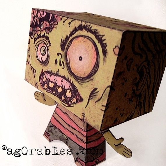 Undead Paper Toy Zombie pdf 3D Paper Doll from agorables etsy shop
