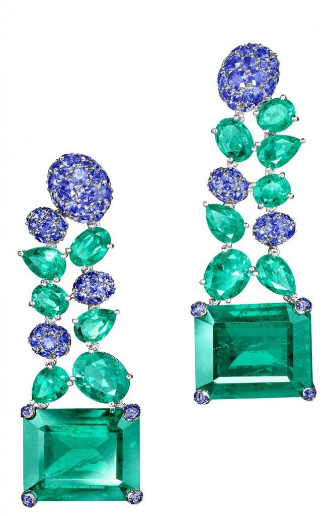 NEW de GRISOGONO High Jewellery Earrings in White Gold with Emeralds & Blue Sapphires