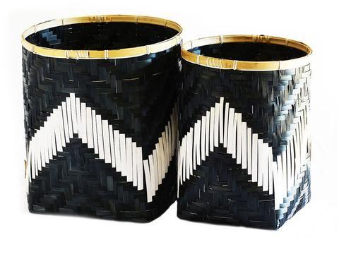Bamboo Basket Black & White Set