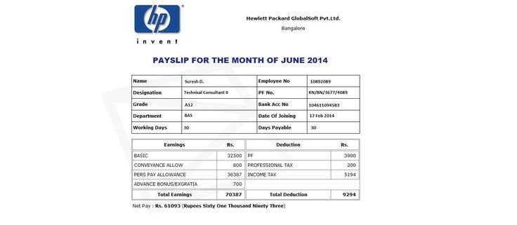 This salary review of Hewlett Packard (HP) is relevant for the - format salary slip