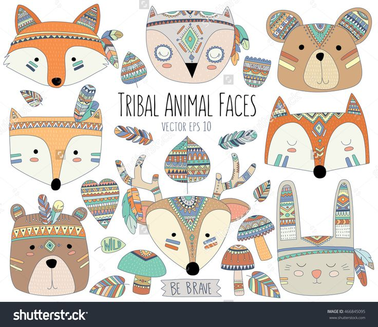 Woodland Tribal Animal Faces And Design Elements Vector - 466845095 : Shutterstock