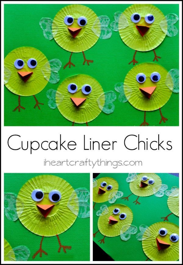 Cupcake Liner Chick Kids Craft for Spring time. from http://iheartcraftythings.com